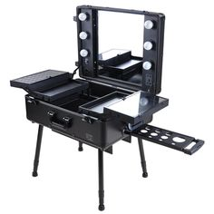 Amazon.com : Cosmetic Rolling Studio Black Makeup Case with Lighted Mirror for Traveling Profesionals : Makeup Train Cases : Beauty