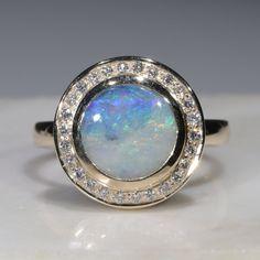Natural Australian Boulder Opal and Diamond  Gold Ring Size 7.5 Code - RL31 Gold Diamond Rings, Opal Rings, Gold Rings, Gemstone Rings, Green Opal, Pink Opal, Natural Opal, Natural Diamonds, Opal Color