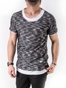 K&B Men Fuzz Ripped Holes T-shirt - Black