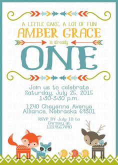 Woodland First Birthday Party Invitation for a by BlueFenceDesigns
