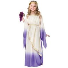 For Mina's Queen Esther costume? A bit Greek, but could make it work.Purple Greek Goddess Costume - Roman Costumes WB with Bracelet for Mom) Halloween Costume Accessories, Halloween Fancy Dress, Halloween Costumes For Girls, Girl Costumes, Costumes For Women, Greek Costumes, Roman Costumes, Mermaid Costumes, Costumes Kids