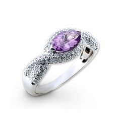 Oval Purple 0.60ct Amethyst and 0.56ct Diamond on White Gold Ring    Finest Gemstone on 18k White Gold ring  Sex : Female  Size : will be sized to order, please state you size when you order    Gemstones Details  Amethyst : weight 0.60 CT  Diamond : weight 0.56 CT    Body Material : White Gold 18k  White Gold Weight : 4.50 g.  $752.00 USD