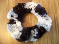 Hair Scrunchies - Hand Crocheted - Colors Black and White (#06) #Scrunchies #Any