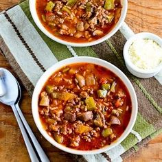 Stuffed Pepper Soup Recipe - good idea to build from. could use quinoa or barley instead of rice. and ground turkey instead of the sausage. :) YUM!