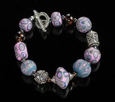 Clay Beaded Bracelet  Polymer Clay Jewelry  by mindfulmatters, $26.00