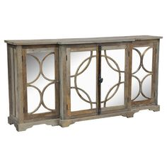 Showcasing 4 mirrored doors with lattice overlay, this artful sideboard is crafted of upcycled elm and south pine wood for eco-friendly appeal. Interior shel...
