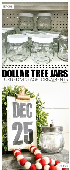 How to make vintage inspired Mercury glass ornament candy jars from Dollar Tree. #Dollartree