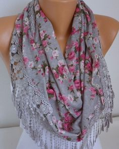 Floral Satin Infinity Scarf, Circle, Loop Scarf,Cowl Scarf,Gift Ideas For Her… Spring Scarves, Grey Scarf, Loop Scarf, Floral Scarf, Fashion Outfits, Womens Fashion, Fashion Weeks, Neck Scarves, Cashmere Scarf