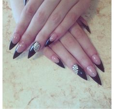 Hot Stiletto Nails with Rhinestones