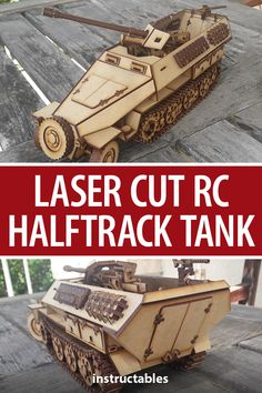 This laser cut RC Halftrack tank is a 1:18 scale, as working track suspensions, wheel direction, and more than 1500 parts! #Instructables #toy #model #lasercut #Arduino Crate Shelves, Thing 1, Storage Boxes, Hello Everyone, Arduino, Laser Cutting, Military Vehicles, 3d Printer, Crates
