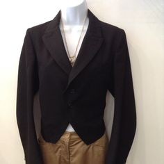 COMME des Garçons black cropped tuxedo jacket. Size small. Please call (949) 715-0004 for all inquiries.