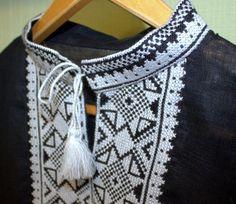 VALENTINE'S SALE!! VYSHYVANKA Ukraine Embroidery Men Black White Linen SHIRT XL  #Handmade #Vyshyvanka