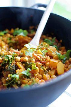Vegan / Vegetarian Pumpkin Buckwheat Stew with Kale and Turmeric