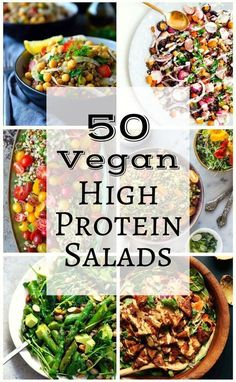 50 Vegan High Protein Salads (The Stingy Vegan) We've scoured the internet to find fifty of the best, most creative and beautiful (and tasty) vegetarian and vegan high protein salads. Vegan Lunches, Vegan Foods, Vegan Dishes, Tasty Dishes, Vegan Vegetarian, Vegan Cru, Raw Food Recipes, Healthy Recipes, Protein Recipes