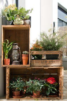 Terrasse : Idée caisses en bois pour agencer mini jardin