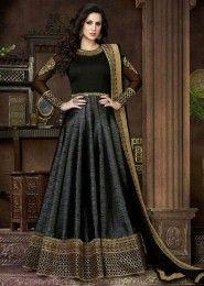 Party Wear black silk Embroidered Work Salwar Kameez