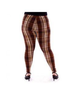 Plus Size Plaid Brown Legging