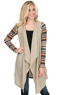 Flying Tomato Women's Taupe with Multicolor Print Sleeves Sweater Cardy | Cavender's