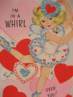Vintage Valentine Card Lovely Ballerina Ballet I'm N A Whirl Over U! UNUSED NEW