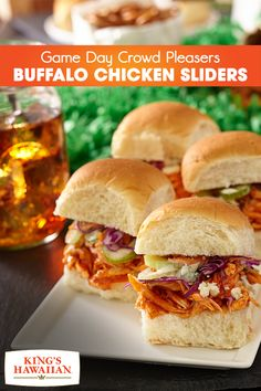 Gear up for Game Day with these insanely delicious Buffalo Chicken Sliders. Made with shredded rotisserie chicken on sweet and soft King's Hawaiian rolls, as well as just the right amount of hot sauce, these melt-in-the-mouth appetizers will score you points with your guests!