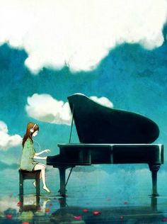 Girl playing the piano Anime Piano, Jouer Du Piano, Piano Girl, Playing Piano, Art Girl, Character Art, Cool Pictures, Anime Art, Art Drawings