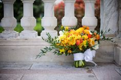 Yellow orange bridal bouquet at Daughters of the American Revolution, flowers Eight Tree Street, photo Amelle Photography, planner Bright Occasions