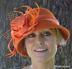 New Women's Orange Wool Felt Cloche Satin Flower Rose Feathers Church Flapper