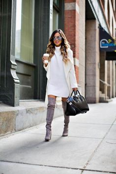 mia mia mine in a white sweater dress by free people and a white sweater coat from shopbop