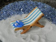 Fairy Garden Accessories Beach kit- 2 piece, supplies, miniature lounge chair, flip flops, terrarium beach supplies, miniature garden supply