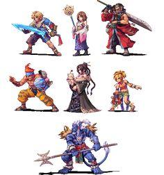 FFX cast pixel art by Daniel Oliver.