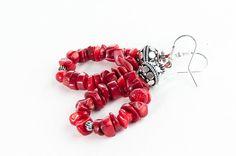 Red Coral Earrings Beaded Hoop Elegant Gift For by DevikaBox, $26.00