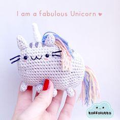 I am a fabulous unicorn! Pusheen the cat cute amigurumi by Toffoletta