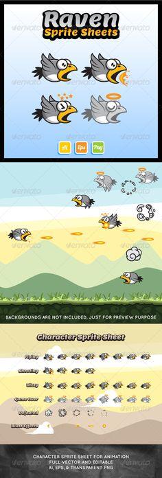 Flying Raven Sprite Sheet - Sprites Game Assets
