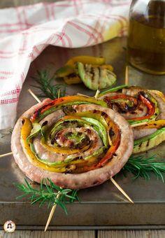 Girelle di salsiccia con verdure