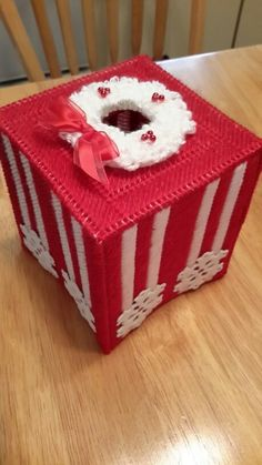 "Hand-made plastic canvas Christmas tissue box. 5"" � 5"" � 6"" measurement.  Great for decoration or as gift!"
