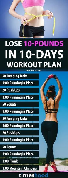 Fast Weight Loss: 1000 Calorie Workout Plan to lose 10 pounds in 10 days. Quick workout challenge for fast weight loss. To lose weight fast you have to maintain your workout as well as diet plan. Get your body in shape. timeshood.com/...