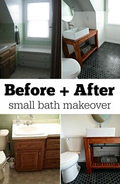 Possible floor tile for bathroom. Before + After Small Bath Makeover. Budget Bathroom, Laundry In Bathroom, Bathroom Renovations, Bathroom Makeovers, Bathroom Ideas, Bathroom Organization, Bathroom Interior, Bathroom Plants, Bath Ideas