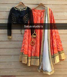 Half Saree Designs, Choli Designs, Lehenga Designs, Saree Blouse Designs, Indian Wedding Outfits, Indian Outfits, Indian Attire, Indian Wear, Cotton Lehenga