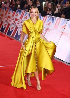 Britain's Got Talent's Amanda Holden's yellow satin dress took our breath away Yellow Satin Dress, Blue Lace Midi Dress, Satin Dresses, Silk Dress, Nice Dresses, Yellow Dress Wedding, Formal Dresses, Amanda Holden Bgt, Amanda Holden Style