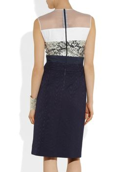 Preen by Thornton Bregazzi | Tindra paneled sateen, leather and lace dress | NET-A-PORTER.COM