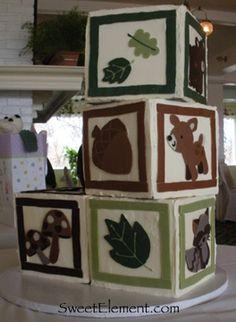 Forest Animal Baby Block Cake