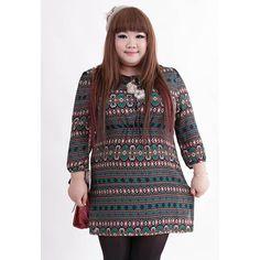 Plus Size Ethnic Style Abstract Pattern Lace-Up Chiffon Women's Stripe Dress