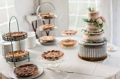 Wedding pies by Grand Traverse Pie Company Wedding Pies, Pie Company, Crystal Mountain, Place Card Holders, Table Decorations, Crystals, Ideas, Cake Wedding, Crystal
