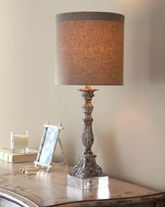 """2 for the vanity ...""""Weathered"""" Table Lamp at Horchow."""