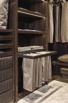 Looks neat, I would like to have a draw on top of the trousers pull out for the belts storage put this rack on a roller inside cupboard. Slide out to access. Bedroom Closet Design, Master Bedroom Closet, Bedroom Wardrobe, Wardrobe Design, Closet Designs, Bedroom Cupboard Designs, Walk In Wardrobe, Walk In Closet, Dressing Design