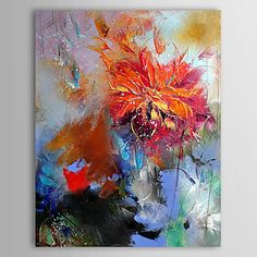 Hand Painted Oil Painting Floral Abstract Red Flower  with Stretched Frame  – AUD $ 70.82