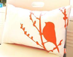 Orange on Off White Cotton Bird on Cherry Blossom Pillow by joom, $28.00