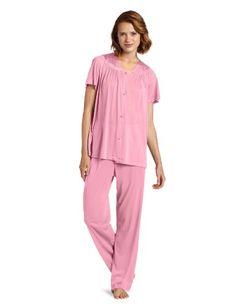 97203a0944a Vanity Fair Women s Plus Size Coloratura Sleepwear Short Sleeve Pajama Set  Perfumed Rose