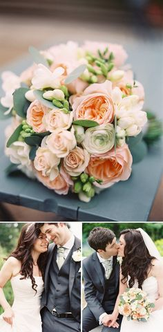 Peach and cream bouquet with David Austin Juliette roses, ranunculus and freesia - by Julie-Anna Flowers, via Rock My Wedding