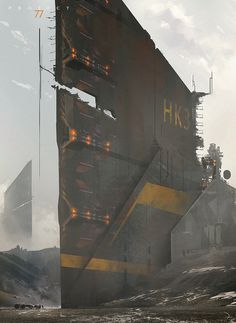 concept ships: Concept ships from PROJECT 77 by Martin Deschambault concept ships: Concept ships from PROJECT 77 by Martin Deschambault Arte Sci Fi, Environment Concept Art, Environment Design, Futuristic City, Futuristic Architecture, Cyberpunk City, Sci Fi Kunst, Science Fiction Kunst, Sci Fi City